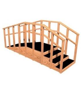 Rampa con escalera recta de madera