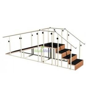 Escalera de 4 peldaños,  recta con rampa y barandales de altura ajustable