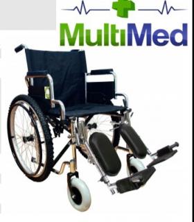 Silla de ruedas con elevapiernas abatible cromada